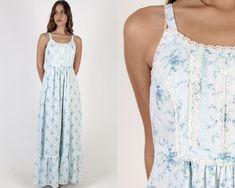 Vintage 70s Long White Floral Dress / Bouquet Blue Flower Print Long Prairie Dress / Country Orchard Boho Prairie Lace Maxi Dress White Floral Dress, Floral Maxi Dress, 1970s Dresses, Lace Maxi, Vintage 70s, Formal Dresses, Wedding Dresses, Lace Trim, Bouquet