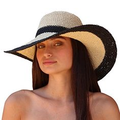 df5e95fce22 Palms   Sand Andros Women s Floppy Wide Brim Sun Hat (Navy and Beige) at Amazon  Womens Clothing store