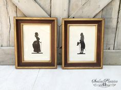 Vintage Silhouette Wall Hanging Prints, Set of 2- Artwork, French Country, Shabby Chic, Farmhouse, Antique
