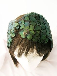 Emerald Green Feather headband facinator - Bonnet Style made of Lady Amherst feather - feathers goes from ear to ear - RENOA design