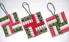 Christmas Ornaments, Quilted, Tiny Quilts for Your Tree, Christmas Colors