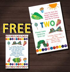 Very Hungry Caterpillar Invitation, Very Hungry Caterpillar Birthday Invitation, FREE Very Hungry Caterpillar Thank You Card