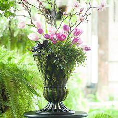 Spring Arrangement // Tulip, Cherry Branch, Clover, Tears,  Heuchera? @donnaraesimon