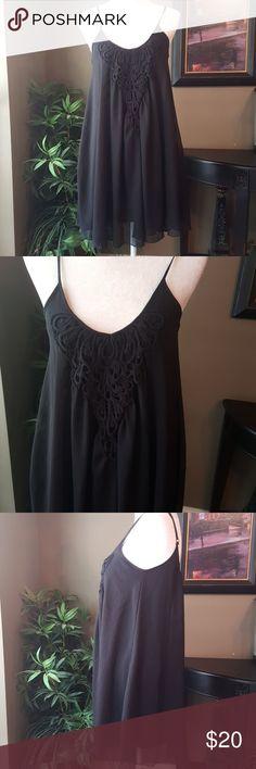 Express Dress Express Black dress chiffon like materiel with a crochet detail. Adjustable straps.  Excellent condition Express Dresses
