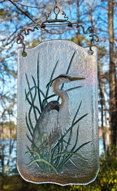 Stan Harmon Glass Art & Sculpture: How do you hang a blue heron?
