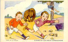 Carte postale : l'ours et les deux compagnons