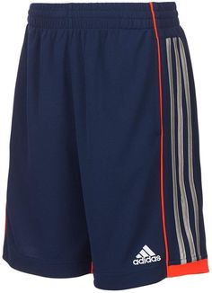Signature triple stripes and an embroidered logo add classic sporty style to double-knit mesh on these comfy pull-on athletic shorts from adidas. Adidas Soccer Shorts, Shorts Nike, Kids Shorts, Sport Shorts, Adidas Men, Adidas Joggers, Athletic Outfits, Sport Outfits, Athletic Shorts