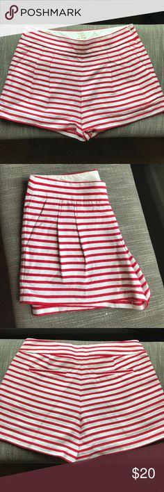 J Crew red striped shorts JCrew Wonen's Striped Red Factory Pleated Shorts #46966 J. Crew Shorts