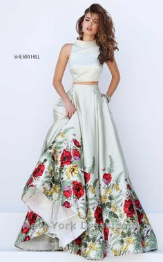 Sherri Hill 50270 Sherri Hill is a gorgeous two piece floral ball gown that  you would look amazing in! The top of this satin dress has a high neck that  goes ... 67d3529d8