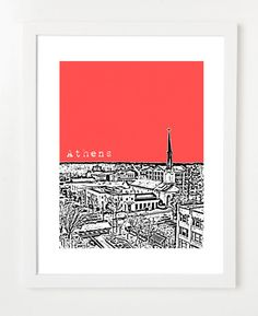 Athens Georgia Poster  City Skyline Art Print  By by birdAve...