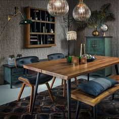 We love this beautiful Dutchbone setting made by Dining Room Inspiration, Interior Design Inspiration, Deco Table, Home And Living, Architecture Design, New Homes, Dining Table, Retro, Furniture