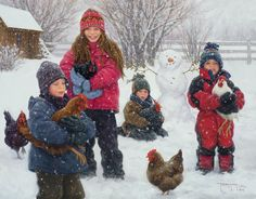 """""""The Chicken Wranglers"""", by American artist - Robert Duncan - ) Camille Pissarro, Realistic Paintings, Original Paintings, Robert Duncan Art, Claude Monet, Henri Matisse, Winter Painting, Poster Prints, Art Prints"""