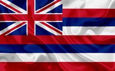 Herunterladen hintergrundbild hawaii flagge, flaggen von staaten, flagge state of hawai, usa, bundesland hawaii, seide, hawai wappen