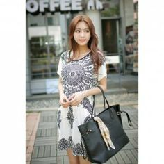 Ethnic Style Floral Print Scoop Neck Short Sleeves Cotton Blend Dress For Women