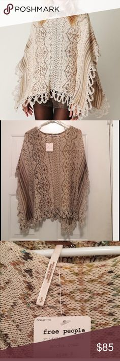 Free People Light Weight Poncho NWT , size Small, color: tan, cream, brown. Retail $158 Free People Sweaters Shrugs & Ponchos