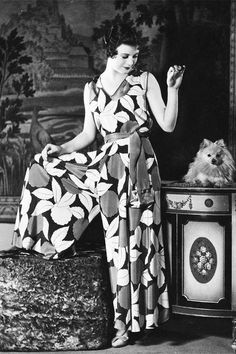 Ginger Rogers in beach pajamas pants wide leg floral jumpsuit leaves 1930s photo print ad icon movie star portrait