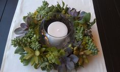 "Living Succulent  Candle Wreath Centerpiece ""Spring Fling"". $50.00, via Etsy."