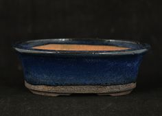 Shohin Fluted Oval in Blue glaze  13.9 x 9.8 x 4.9 cm external by Walsall Studio