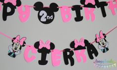 Minnie Mouse Birthday Banner with Name by LoopyHeads on Etsy, $23.00