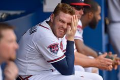 Freddie Freeman getting grossed out by kisses at the 19 June Phillies game, Atlanta, Georgia, United States, 2014, photograph by Kevin Liles. YUCK!
