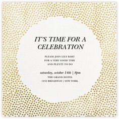 Paperless Post - Konfetti - Gold by Kelly Wearstler New Years Eve Invitations, Wedding Invitations Online, Holiday Invitations, Engagement Party Invitations, Wedding Stationery, Cocktail Party Invitation, Rehearsal Dinner Invitations, Birthday Invitation Message, Birthday Party Invitations