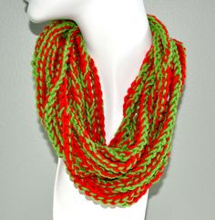 Beautiful Red and Green Infinity Scarf/ neck by Beautifulcrochet, $10.00