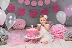 Pink&Grey cake smash cakesmash smashcake first cake bithday