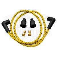 7mm Braided Cloth  Spark Plug Wire Kit - Yellow / Black