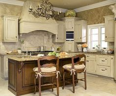 Country French Kitchen - Frances Crocram - Country French Kitchen Country French Comfort for my new house - A light color scheme and an earthy mix of materials help this kitchen reflect a country French style - Kitchen Redo, Kitchen Layout, New Kitchen, Kitchen Remodel, Kitchen Dining, Kitchen Ideas, Kitchen Inspiration, Kitchen Designs, Kitchen Island