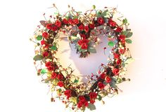 Heart Shaped  wreath   red roses  Christmas by laurelsbylaurie, $59.00