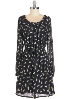 I Canter Be Tamed Dress. Run away with your whimsical ways in this breezy horse-printed frock. #black #modcloth