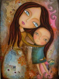 Embrace of a mother mixed media art print 8 x 10 by SusanaTavares, $15.00