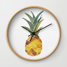 Pineapples Wall Clock by Cat Coquillette