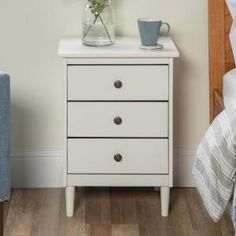 Walker Edison Furniture Company Classic Mid Century Modern White Solid Wood Nightstand - The Home Depot 3 Drawer Nightstand, White Nightstand, Nightstand Ideas, Side Tables Bedroom, Mid Century Modern Design, Solid Wood, Solid Pine, New Room, Mid-century Modern