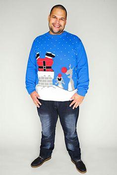 D555 Blau gestrickte Musik & Flashing Weihnachtspullover                                                                                                                                                                                 Mehr