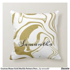 Custom Name Gold Marble Pattern Personalized Throw Pillow Reflection Art, Gold Pillows, Gold Marble, Marble Pattern, Pattern Names, Designer Throw Pillows, Custom Pillows, Gold Glitter, Cool Stuff