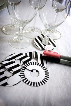 DIY Printable Paper Wine Charm Slipper Tags Black and White Stripe Brigitte Klotzek   Flickr - Photo Sharing!
