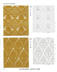 crochet pineapples in a diamond chart Crotchet Patterns, Crochet Motifs, Crochet Diagram, Crochet Stitches Patterns, Crochet Chart, Crochet Basics, Thread Crochet, Knitting Stitches, Stitch Patterns
