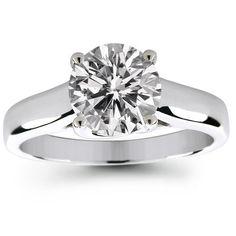 Platinum 1.50 Carat Round Cut Trellis Setting Solitaire Diamond Engagement Ring - (G-H;SI1-2)