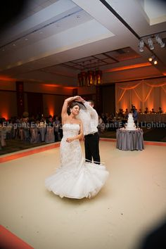 Adding an overlay border or pattern can accentuate your wedding colors and enhance your reception's style.