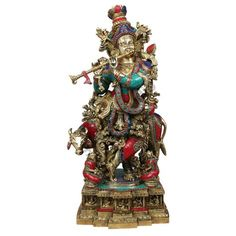 "StatueStudio Lord Shri Krishna Murti With Cow Inlay Idol Statue Figure 28"". This beautiful Krishna statue is a perfect addition to any home or office."