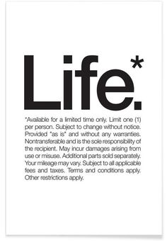 Life* (Black) as Premium Poster by WORDS BRAND™ | JUNIQE #poster #life #definition