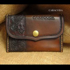 Leather wallet Mini carved tooled brown chocolate by CARACODA
