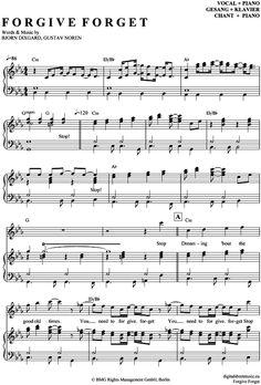 Forgive Forget (Klavier + Gesang) Caligola [PDF Noten] >>> KLICK auf die Noten um Reinzuhören <<< Noten und Playback zum Download für verschiedene Instrumente bei notendownload Blockflöte, Querflöte, Gesang, Keyboard, Klavier, Klarinette, Saxophon, Trompete, Posaune, Violine, Violoncello, E-Bass, und andere ...