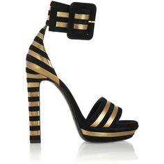 Saint Laurent Striped suede and metallic-leather sandals ($1,195) ❤ liked on Polyvore featuring shoes, sandals, heels, footwear, saint laurent, metallic leather sandals, leather footwear, metallic leather shoes, stripe shoes and heeled sandals