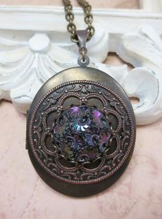 Victorian Locket Vintage Inspired Mourning by dfoxjewelrydesigns
