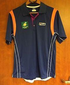 FILA☀Men's Blue S/S BNP☀PARIBAS OPEN Athletic TENNIS Polo Shirt Sz M Patches  | eBay