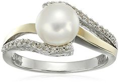 Sterling Silver and 14k Yellow Gold 7mm Freshwater Cultured Pearl and Diamond Ring (0.07 cttw, I-J Color, I3 Clarity), Size 8 * Click on the image for additional details.