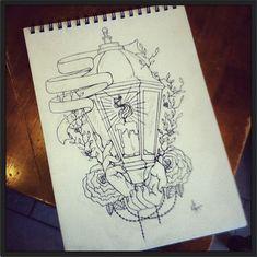 Up Tattoos, Hand Tattoos, Sleeve Tattoos, Tatoos, Tattoo Sketches, Tattoo Drawings, Lantern Drawing, Lamp Tattoo, Neotraditional Tattoo