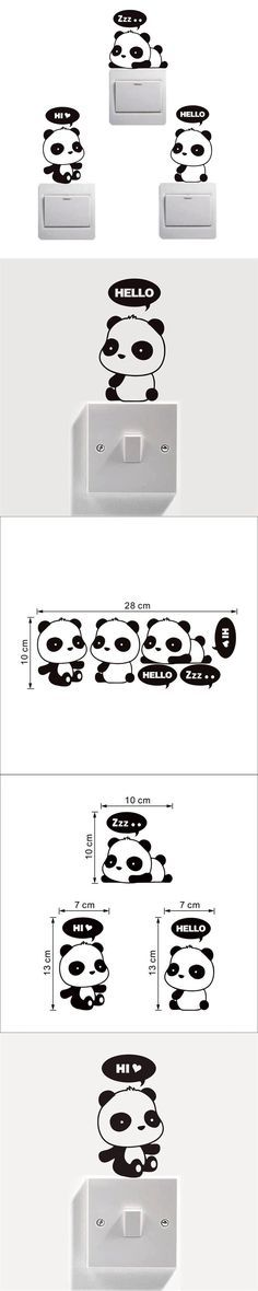 Panda Cute Light Switch Sticker Funny Vinyl Wall Decals Picture Wallpaper for Living Room Mural on the Wall Paper Home Decor $3.56
